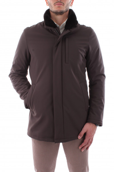 Jacket with double neck with dark fur man T20-03